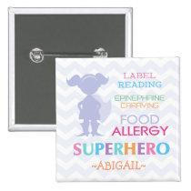Food Allergy Alert Superhero Girl Button