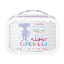 Food Allergy Alert Superhero Girl Lunchbox