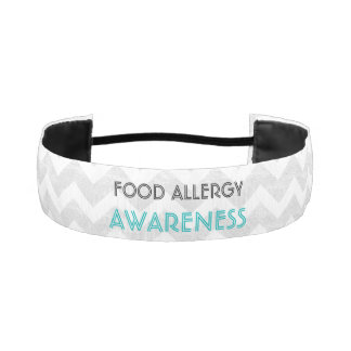 Food Allergy Awareness Gray Chevron Athletic Headband
