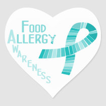 Food Allergy Awareness Heart Teal Ribbon Heart Sticker