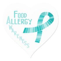 Food Allergy Awareness Heart Teal Ribbon Heart Sticker