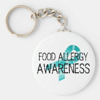 Food Allergy Awareness Shades of Teal Ribbon Keychain