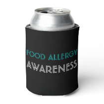 Food Allergy Awareness Teal Black Can Cooler