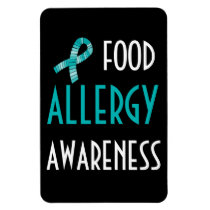 Food Allergy Awareness Teal Ribbon Black and Teal Magnet