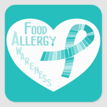 Food Allergy Awareness Teal Ribbon Heart Square Sticker