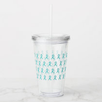 Food Allergy Awareness Teal Ribbon Pattern Acrylic Tumbler