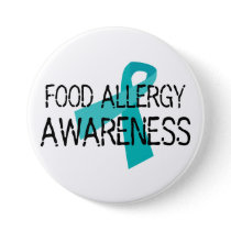 Food Allergy Awareness Teal Ribbon Pinback Button