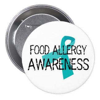 Food Allergy Awareness Teal Ribbon Pinback Button