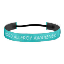 Food Allergy Awareness Teal with White Font Athletic Headband