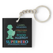 Food Allergy Boy Superhero Personalized Kids Keychain