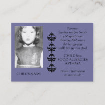 Food Allergy Identification Photo Contact Card