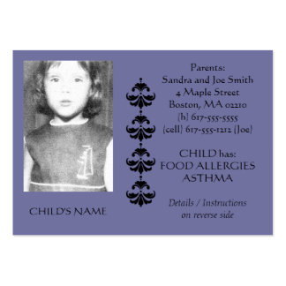Food Allergy Identification Photo Contact Card Large Business Card
