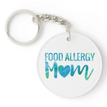 Food Allergy Mom Watercolor Typography Awareness Keychain