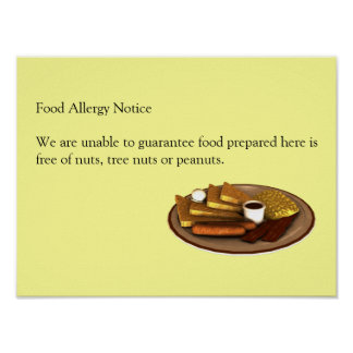 Food Allergy Notice Posters