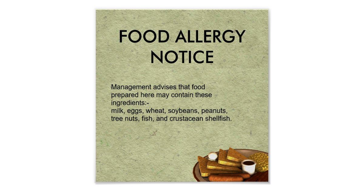 Food Allergy Notice Poster | Zazzle.com