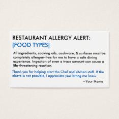 Food Allergy Restaurant & Ice Card at Zazzle