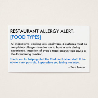Food Allergy Restaurant & ICE Card