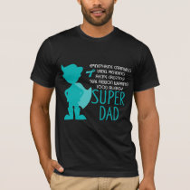 Food Allergy Super Dad Teal Silhouette T-Shirt