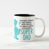 Food Allergy Super Dad Teal Silhouette Two-Tone Coffee Mug
