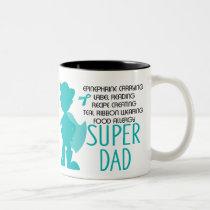 Food Allergy Super Dad Teal Silhouette Two-Tone Coffee Mug