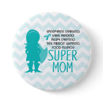 Food Allergy Super Mom Silhouette Teal Button
