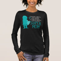 Food Allergy Super Mom Teal Silhouette Long Sleeve T-Shirt