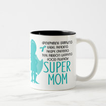 Food Allergy Super Mom Teal Silhouette Two-Tone Coffee Mug
