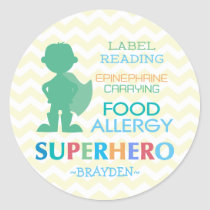 Food Allergy Superhero Boy Stickers