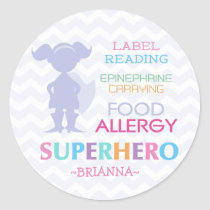 Food Allergy Superhero Girl Stickers