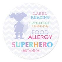 Food Allergy Superhero Girl Stickers