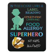 Food Allergy Superhero No Nuts Allowed Boys Door Sign