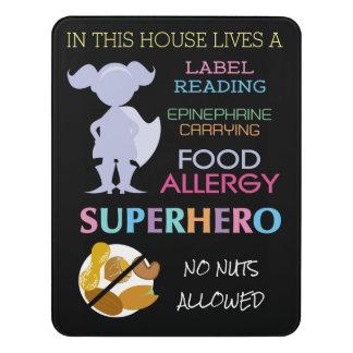 Food Allergy Superhero No Nuts Allowed Girls Door Sign. No Nuts Door Signs   Zazzle