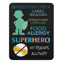 Food Allergy Superhero No Peanuts Allowed Boys Door Sign
