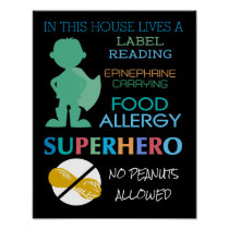 Food Allergy Superhero No Peanuts Allowed Boys Poster