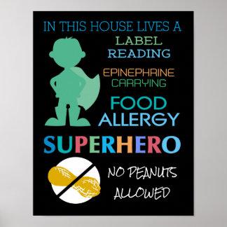 Food Allergy Superhero No Peanuts Allowed Boys Poster