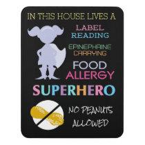 Food Allergy Superhero No Peanuts Allowed Girls Door Sign
