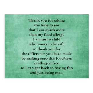 Food Allergy Thank You Postcards