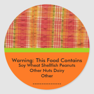 Food Allergy Warning Sticker