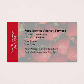 Food And Beverage Analyst Business Cards