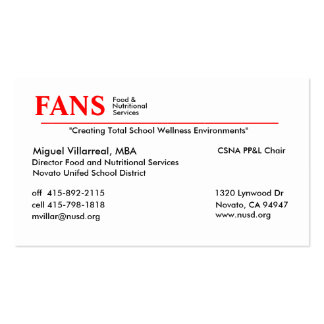 Food and Nutritional Services Business Card