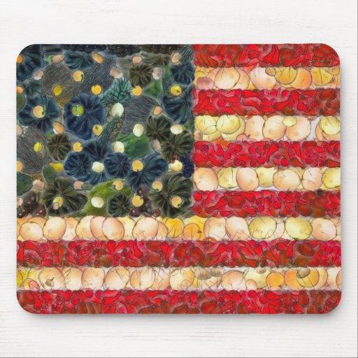 Food Art American Flag Mousepads
