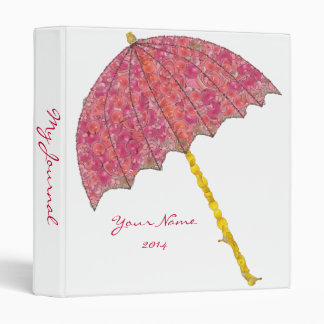 Food Art Pink Umbrella 3 Ring Binder