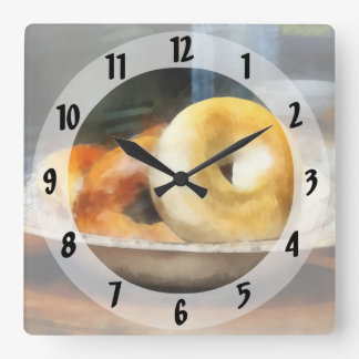 Food - Bagels for Sale Square Wall Clock
