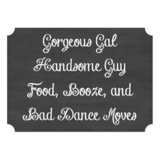 Food, Booze, And Bad Dance Moves Chalkboard 5x7 Paper Invitation Card