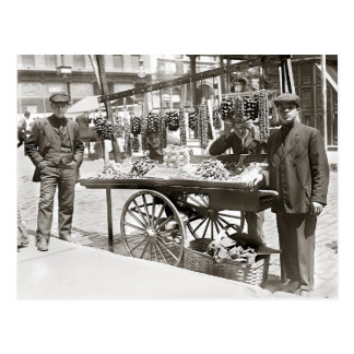 Food Cart in Little Italy, 1908 Postcard