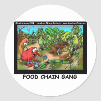 Food Chain Gang Funny Gifts Tees Cards Etc Classic Round Sticker