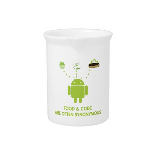 Food & Code Are Often Synonymous (Bug Droid) Beverage Pitcher