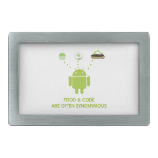 Food & Code Are Often Synonymous (Bug Droid) Rectangular Belt Buckle