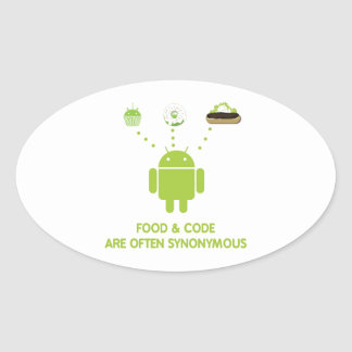 Food & Code Are Often Synonymous (Bug Droid) Oval Stickers