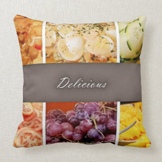 Food Collage Throw Pillow